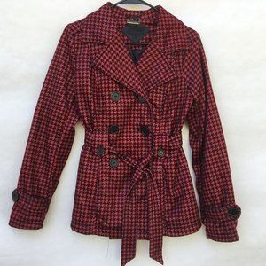 JouJou Red Black Houndstooth Double Breasted Pea Coat